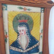 Antigüedades: PINTURA SOBRE CRISTAL VIRGEN SIGLO XIX. ARTE COLONIAL. Lote 205107640