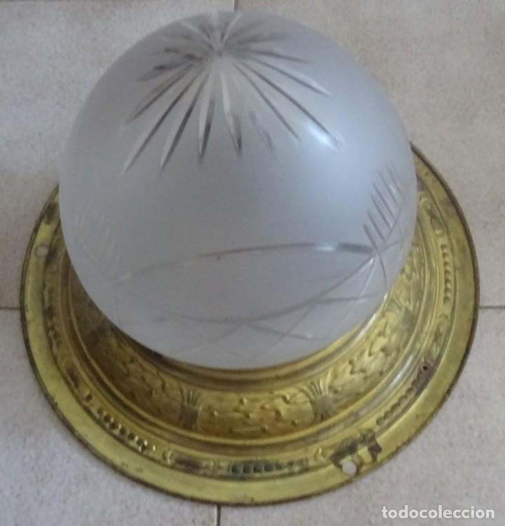 LAMPARA PLAFON MODERNISTA DE TECHO EN LATON Y CRISTAL (Antigüedades - Iluminación - Lámparas Antiguas)