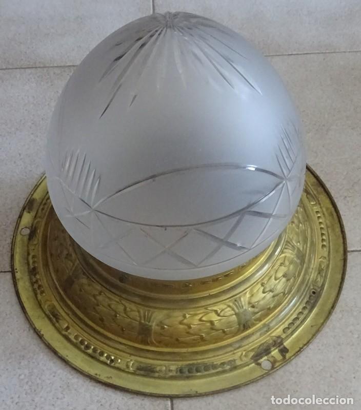 Antigüedades: LAMPARA PLAFON MODERNISTA DE TECHO EN LATON Y CRISTAL - Foto 2 - 205122560