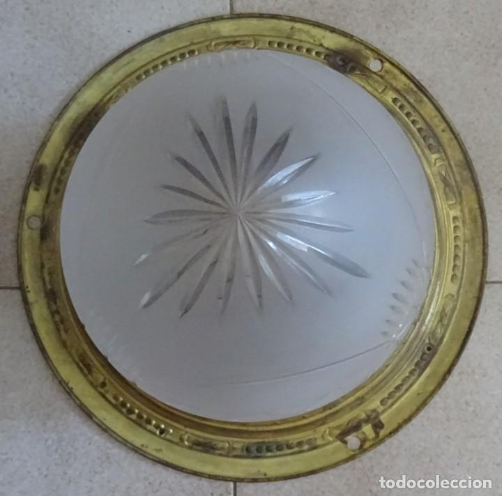 Antigüedades: LAMPARA PLAFON MODERNISTA DE TECHO EN LATON Y CRISTAL - Foto 3 - 205122560