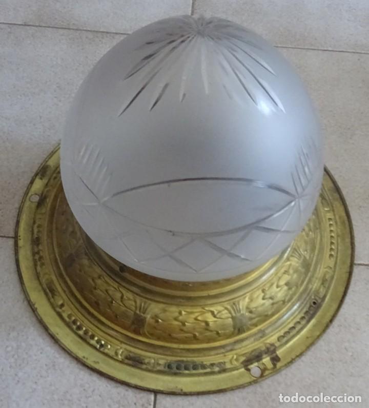 Antigüedades: LAMPARA PLAFON MODERNISTA DE TECHO EN LATON Y CRISTAL - Foto 5 - 205122560