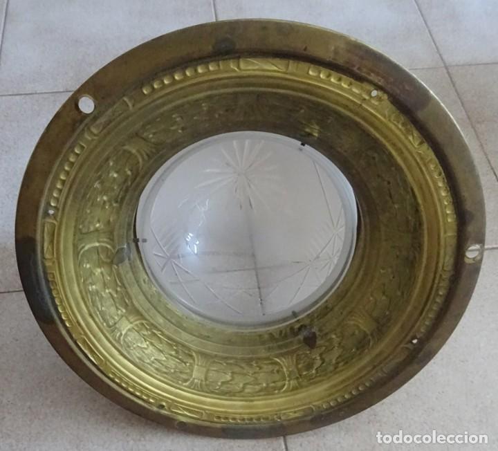 Antigüedades: LAMPARA PLAFON MODERNISTA DE TECHO EN LATON Y CRISTAL - Foto 6 - 205122560