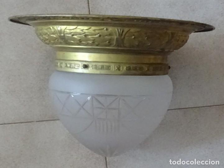 Antigüedades: LAMPARA PLAFON MODERNISTA DE TECHO EN LATON Y CRISTAL - Foto 8 - 205122560