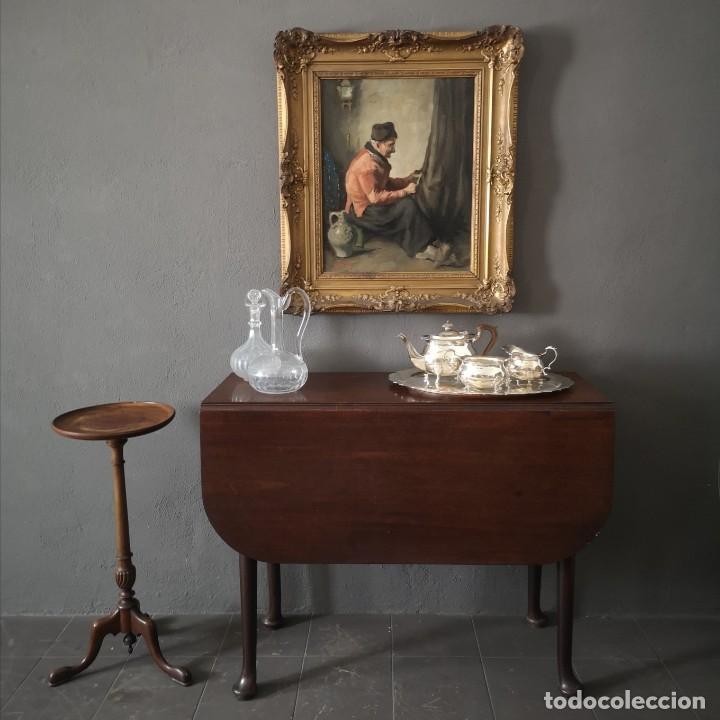 MESA DE ALAS PLEGABLES EN CAOBA MACIZA CON PATAS QUEEN ANNE PERIODO GEORGIANO INGLATERRA S XVIII (Antigüedades - Muebles Antiguos - Mesas Antiguas)