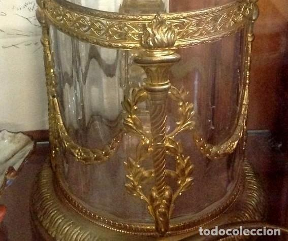 PAREJA JARRONES CRISTAL Y ORO AL MERCURIO..ANTIGUOS LUIS XVI. ORIGINALES .PIEZAS DE MUSEO. (Antigüedades - Cristal y Vidrio - Lalique )
