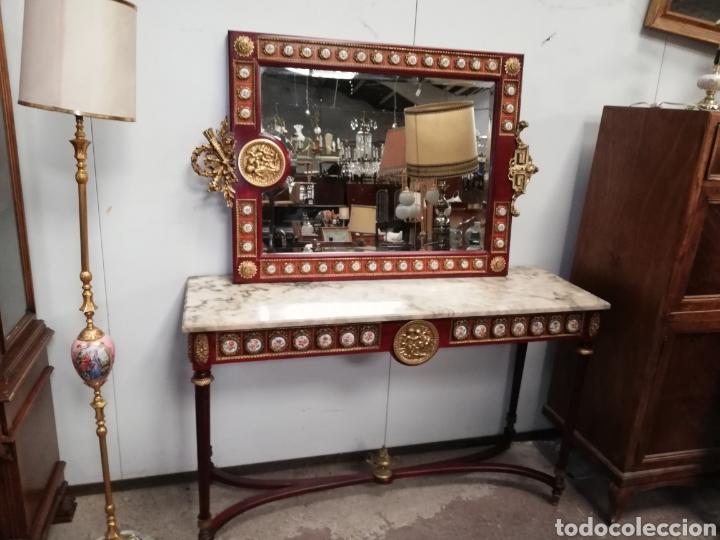 CONSOLA CON ESPEJO LUIS XVI (Antigüedades - Muebles Antiguos - Consolas Antiguas)