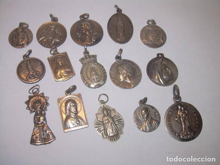 15..MEDALLAS ALGUNAS DE PLATA...BUEN ESTADO DE CONSERVACION. (Antigüedades - Religiosas - Medallas Antiguas)