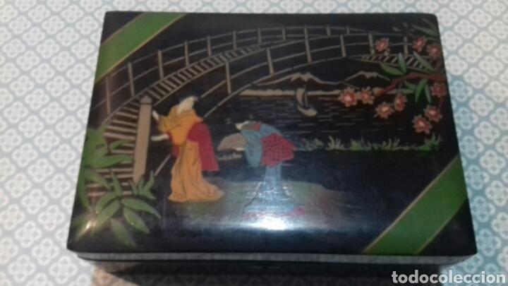 IMPRESIONANTE CAJA JOYERO ANTIGUA DE MADERA CON ESPEJO Y PINTADA A MANO (Antigüedades - Hogar y Decoración - Cajas Antiguas)