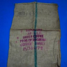 Antigüedades: SACO DE CAFÉ - INDONESIA - BARCELONA - 72 X 105 CMS. Lote 205343572