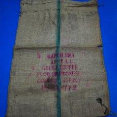 Antigüedades: SACO DE CAFÉ - INDONESIA - BARCELONA - 76 X 110 CMS. Lote 205343671