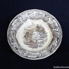 Antigüedades: PLATO DE CERAMICA DE CARTAGENA EN COLOR MARRON.. Lote 205363580