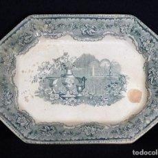 Antigüedades: FUENTE DE CARTAGENA COLOR VERDE, ¨JARDÍN EUROPEO CON JARRONES¨. Lote 205368347