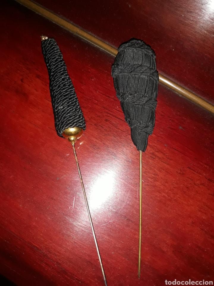 2 AGUJAS PARA SOMBRERO (Antigüedades - Moda - Sombreros Antiguos)