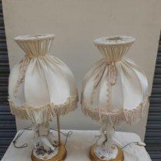 Antigüedades: PAREJA DE LAMPARAS - ANGELOTES - ALGORA?. Lote 205379865