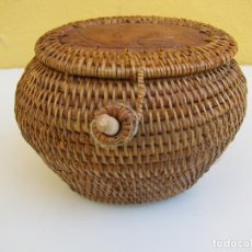 Antigüedades: CESTA POPULAR PASTORIL. PARA LLEVAR LAS RANAS. Lote 205382692