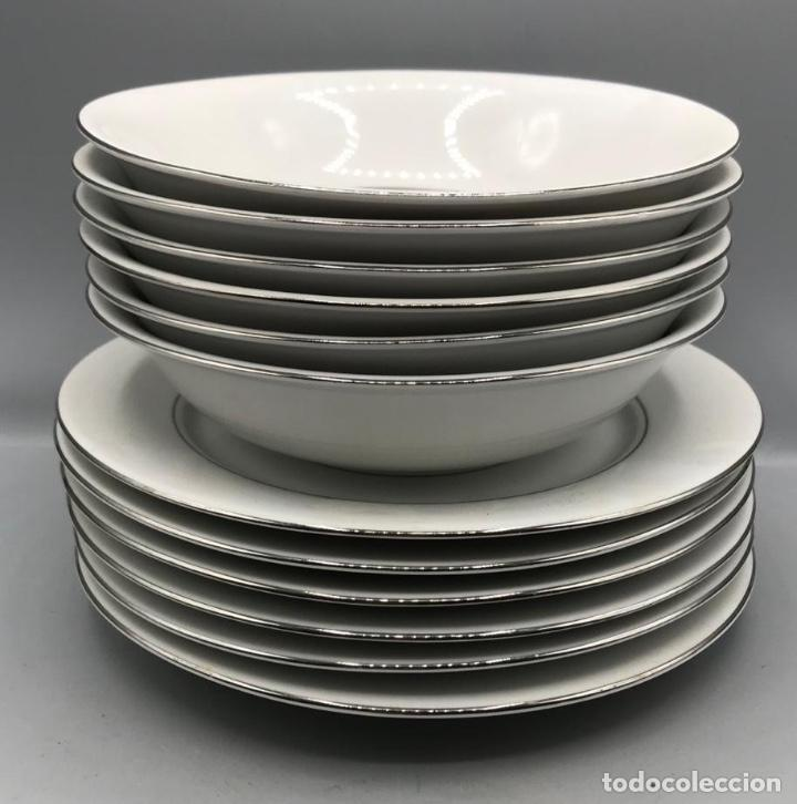 Antigüedades: Fina porcelana Senator juego para seis comensales ,con filos de plata. - Foto 4 - 205383010