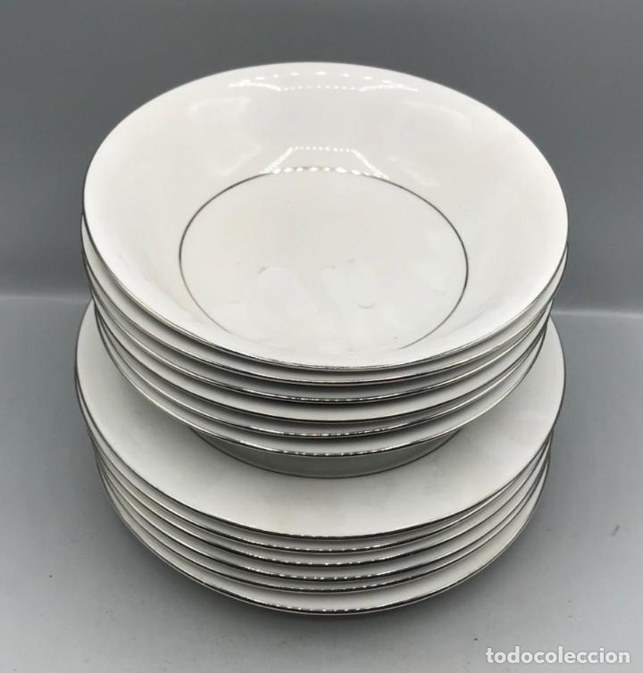 Antigüedades: Fina porcelana Senator juego para seis comensales ,con filos de plata. - Foto 5 - 205383010