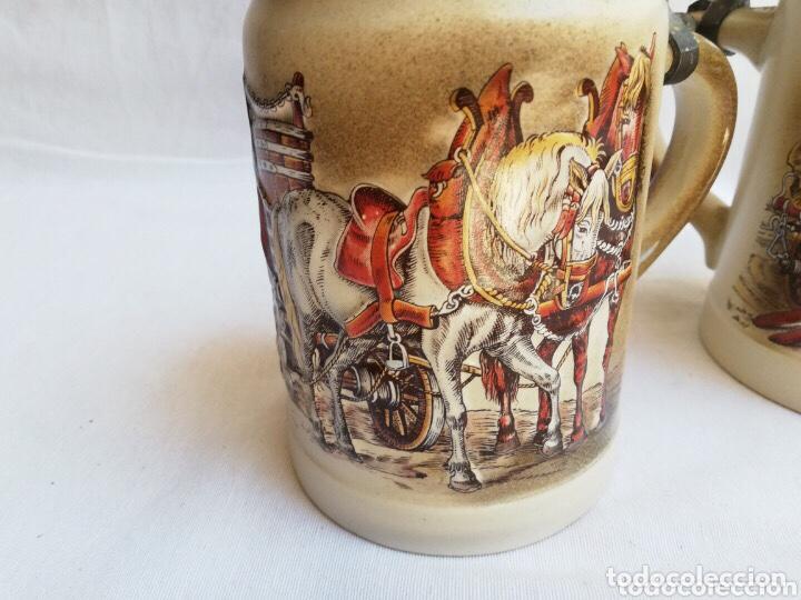 Antigüedades: Lote de dos jarras de cerveza Alemanas de porcelana original. Gerz - Foto 4 - 205386155