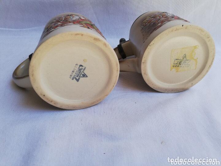 Antigüedades: Lote de dos jarras de cerveza Alemanas de porcelana original. Gerz - Foto 5 - 205386155