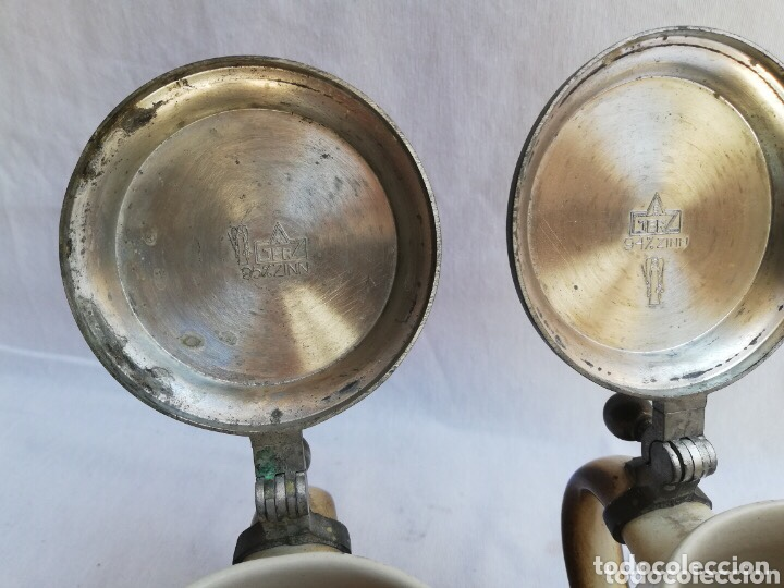 Antigüedades: Lote de dos jarras de cerveza Alemanas de porcelana original. Gerz - Foto 7 - 205386155