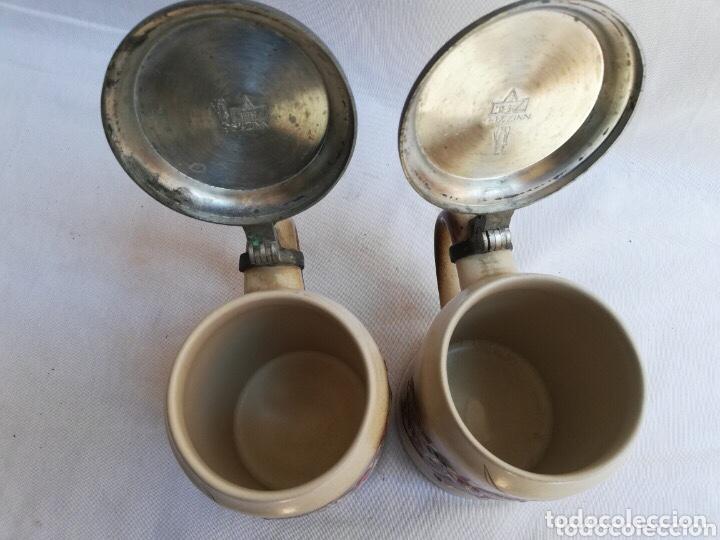 Antigüedades: Lote de dos jarras de cerveza Alemanas de porcelana original. Gerz - Foto 8 - 205386155
