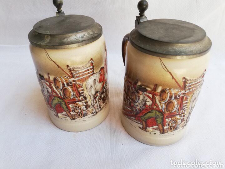 Antigüedades: Lote de dos jarras de cerveza Alemanas de porcelana original. Gerz - Foto 11 - 205386155
