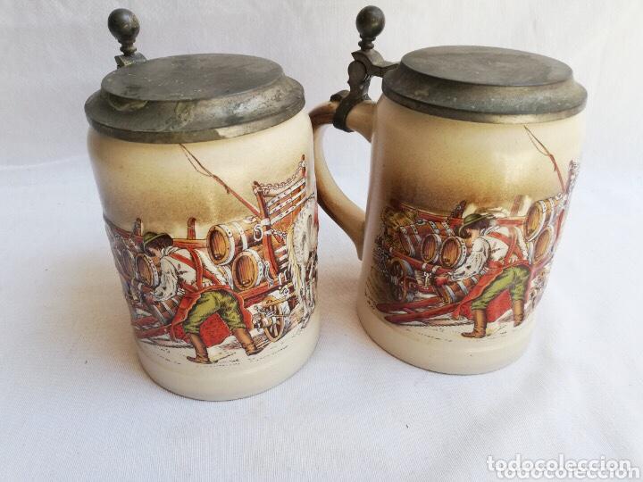 LOTE DE DOS JARRAS DE CERVEZA ALEMANAS DE PORCELANA ORIGINAL. GERZ (Antigüedades - Porcelana y Cerámica - Alemana - Meissen)