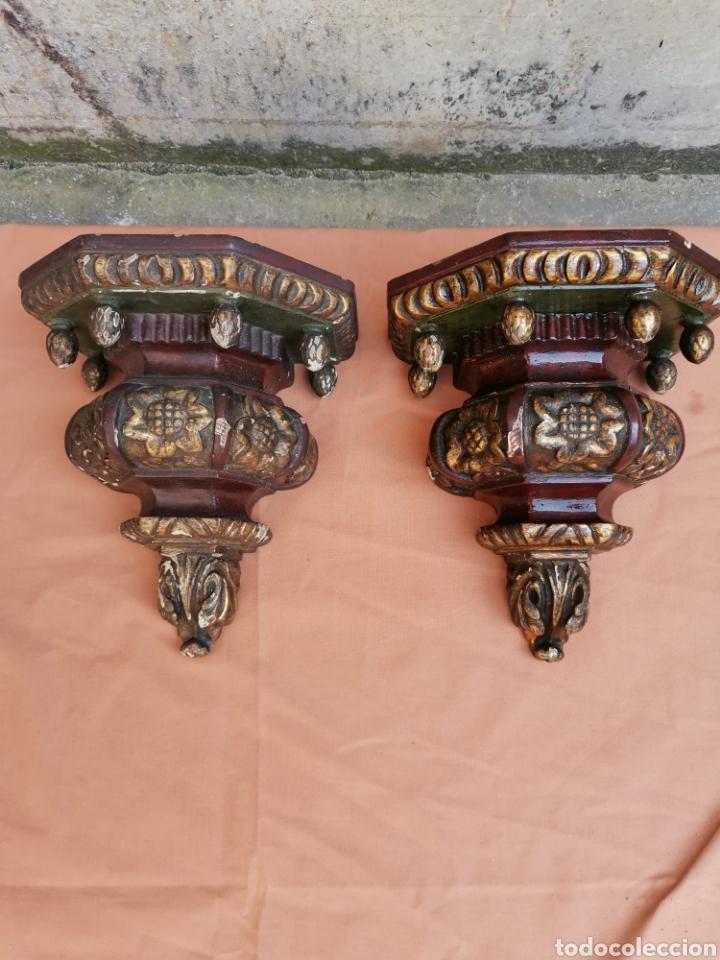 DOS MENSULAS 26X23 (Antigüedades - Muebles Antiguos - Ménsulas Antiguas)