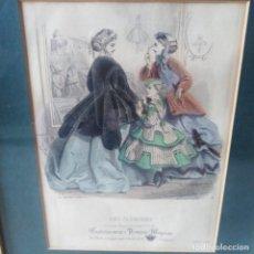 Antigüedades: MODA FEMENINA, SIGLO XIX, GRABADO ORIGINAL DE 1866. Lote 205404421