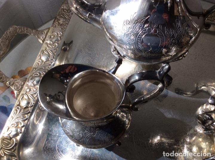Antigüedades: JUEGO DE CAFE Y TE EN METAL BAÑO DE PLATA - Foto 4 - 205440182