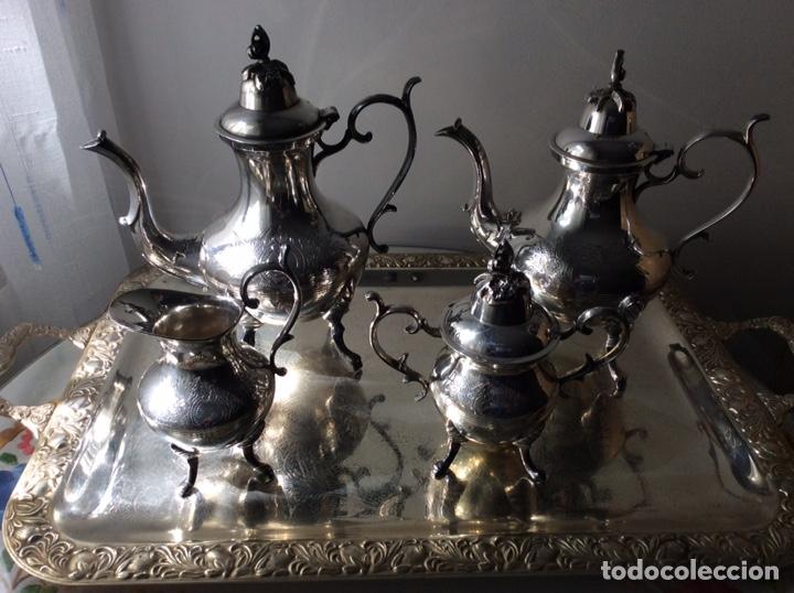 Antigüedades: JUEGO DE CAFE Y TE EN METAL BAÑO DE PLATA - Foto 9 - 205440182