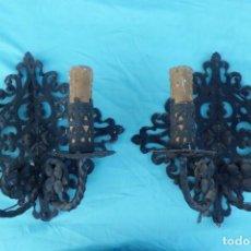 Antigüedades: PAREJA DE APLIQUES DE LUZ EN CHAPA DE HIERRO, AÑOS 40. Lote 205451146