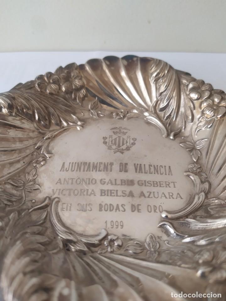 Antigüedades: Antigua Bandeja de Plata de Ley Española 925 Pesa 51gr - Foto 4 - 205452178