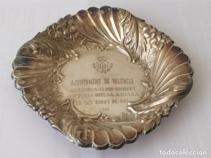 Antigüedades: Antigua Bandeja de Plata de Ley Española 925 Pesa 51gr - Foto 10 - 205452178