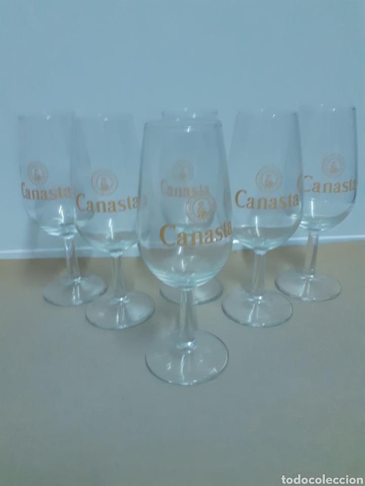 LOTE DE 6 CATAVINOS CON SERIGRAFÍA DE CANASTA (Antigüedades - Cristal y Vidrio - Otros)