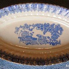 Antigüedades: FUENTE PORCELANA SANTA CLARA, CHINA BLAU. DE 25 CMS DE LARGO. COCINA. Lote 205470776