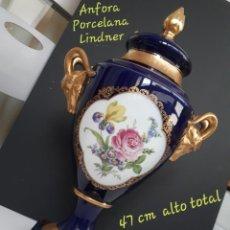 Antigüedades: JARRON PORCELANA BAVARIA LINDNER KÜPS COBALTO Y ORO 24K. Lote 205476046