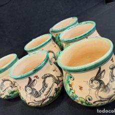 Antiquités: CONJUNTO 6 TAZAS CHOCOLATERAS. PUENTE DEL ARZOBISPO. C10. Lote 205511402