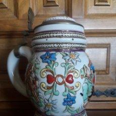 Antigüedades: ANTIGUA JARRA DE CERVEZA DE PORCELANA ESMALTADA. Lote 205533433
