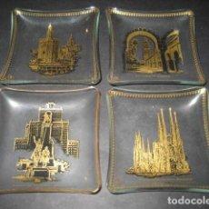 Antigüedades: 4 CENICEROS CRISTAL. TORRE DEL ORO SAGRADA FAMILIA P. ESPAÑA MADRID, DON QUIJOTE, MEZQUITA CORDOBA. Lote 205542546