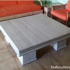 Antigüedades: GRAN MESA BAJA MARMOL TRAVERTINO.IMPRESIONANTE DISEÑO Y BELLEZA.. Lote 205546841