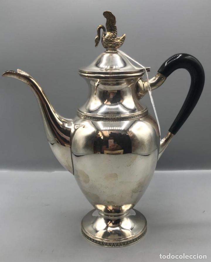 Antigüedades: Jarra de café o té Española con cisne en la tapa Peso 739gr en plata. - Foto 3 - 205564300