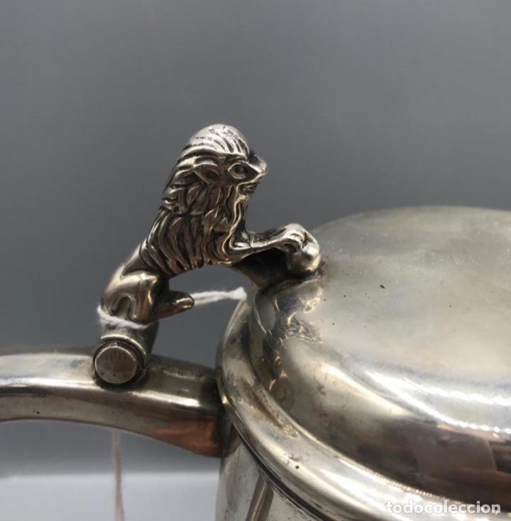 Antigüedades: Jarra de plata alemana con leon, con contrastes, 18 cm de altura. - Foto 9 - 205566148