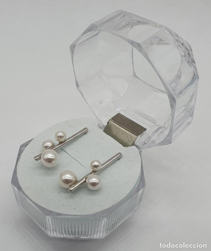 Antigüedades: Pendientes de diseño abstracto en plata de ley contrastada 925 y perlas blancas . - Foto 2 - 205569608