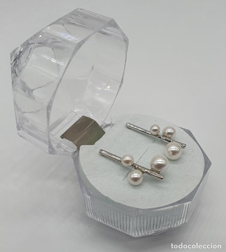 Antigüedades: Pendientes de diseño abstracto en plata de ley contrastada 925 y perlas blancas . - Foto 4 - 205569608