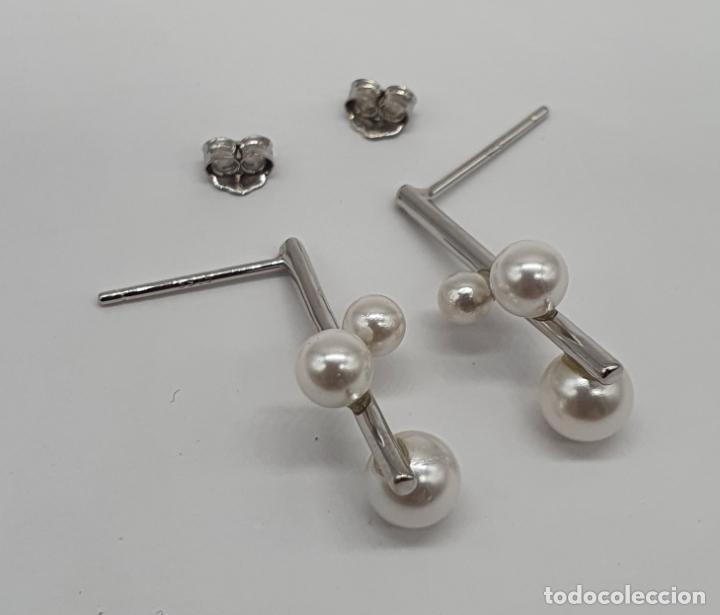 Antigüedades: Pendientes de diseño abstracto en plata de ley contrastada 925 y perlas blancas . - Foto 5 - 205569608