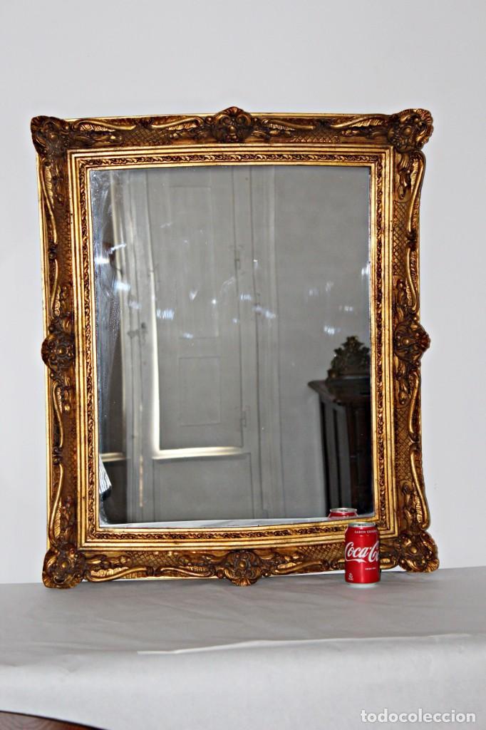 Antigüedades: Espejo marco de madera y pan de oro. 1940. 90 x 76 cm - Foto 3 - 205579938