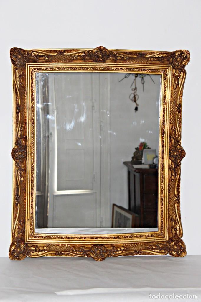 Antigüedades: Espejo marco de madera y pan de oro. 1940. 90 x 76 cm - Foto 4 - 205579938