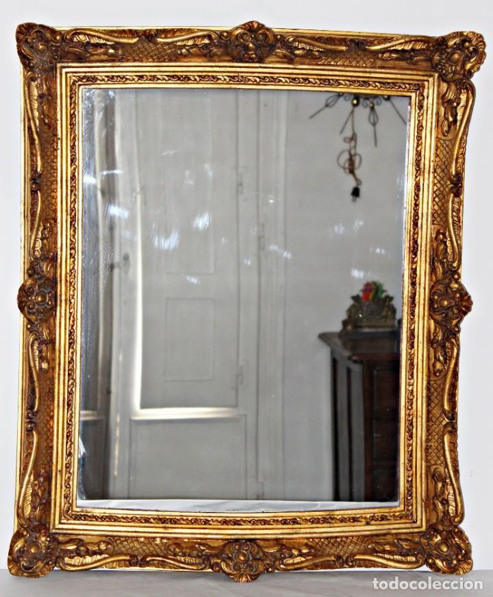 Antigüedades: Espejo marco de madera y pan de oro. 1940. 90 x 76 cm - Foto 5 - 205579938