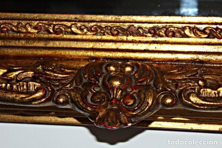 Antigüedades: Espejo marco de madera y pan de oro. 1940. 90 x 76 cm - Foto 8 - 205579938